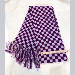 EUC Classic Plaid Check Pattern Purple Scarf